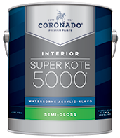 HANNA'S COLOR CENTER INC. Super Kote 5000® Waterborne Acrylic-Alkyd is the ideal choice for interior doors, trim, cabinets and walls. It delivers the desired flow and leveling characteristics of conventional alkyd paints while also providing a tough satin or semi-gloss finish that stands up to repeated washing and cleans up easily with soap and water.boom